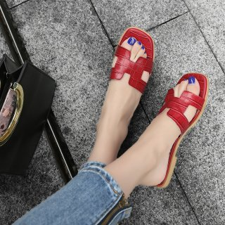 2018 Summer shoes sandals H slides genuine leather woman casual home slippers big size