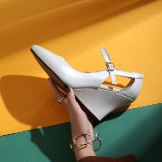 326c54b0f74 wedges pumps high heels pointed toe white black genuine leather buckle high  heels