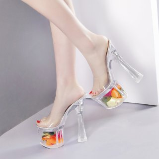2018 summer chunky heels peep toe transparent clear pvc flowers crystal heels sandals shoes for woman ladies