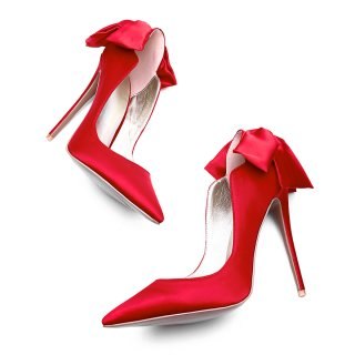 spring autumn red heels stilettos party shoes ladies pointed toe butterfly knot satin cloth pumps big size wedding shoes