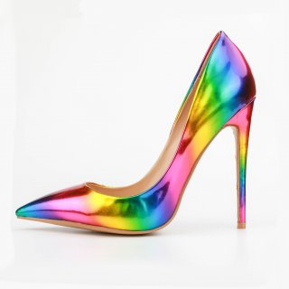 Arden Furtado spring autumn slip on stilettos high heels 12cm pointed toe rainbow pumps small size 33 fashion lady party shoes