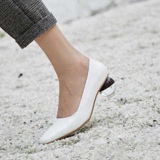 Arden Furtado 2019 spring autumn strange style pointed toe round heels genuine leather white pumps woman shoes ladies