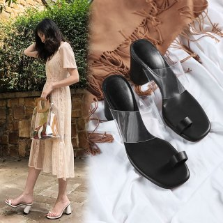 2018 summer chunky heels Square toe woman shoes ladies clear pvc white outside slippers fashion slides