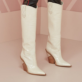 Arden Furtado spring autumn genuine leather slip on pointed toe white knee high boots shoes woman  high heels wedges  boots