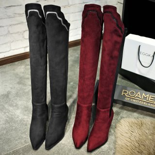 Fashion women's shoes in winter 2019 over the knee boots fashion shoes women burgundy fashion women's booties chunky heels 6cm small size 32 33