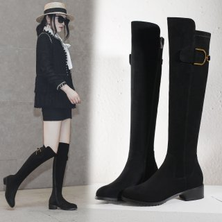European and American fashion hot style low heel look slim boots 2018