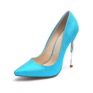 Europe and the United States pure color pointed thin high metal heel 12cm shallow one shoe temperament party shoes wedding shoes