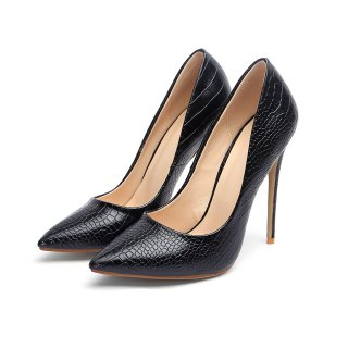 European and American solid color pointed thin metal heel with 12cm female shallow mouth temperament single shoe