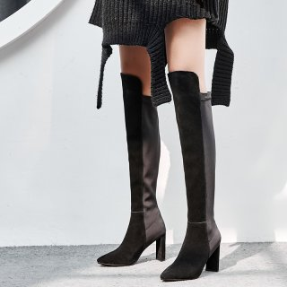 Autumn/winter 2018 women's shoes leather boots with thick tip and style hot style pure color black sexy boots big size 43 small size 33