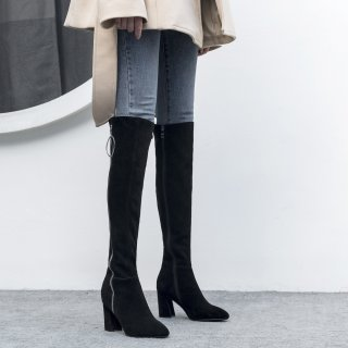 Autumn/winter 2018 women's shoes Europe station ladies fashion web celebrity pearl embroidered shoes with thick pointed toes and slim long leg temperament and knee boots