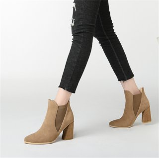 Winter 2018 Korean women's shoes genuine leather style queen simple pointed chunhei short women's boots