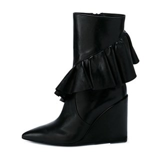 2018 winter fashion women's shoes solid color black lotus ruffles party shoes half boots women's  pointed toe large size fashion hot style women's wedges boots