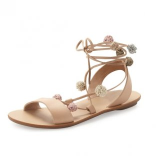 Summer 2018 fashionable temperament  nude women's shoes and sandals flat bottom plain color simple flower decoration popular retro sandals