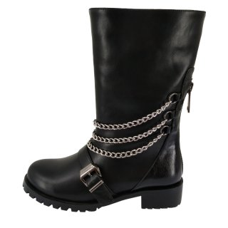 2019 winter fashion women's shoes round head boots with metal chain leather consice personality black bucket shoes