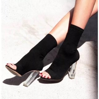 Fashion women's boots for spring 2019 sexy chunky heels elegant peep toe  half boots black suede consice