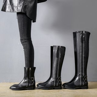 Winter 2019 fashion hot style women's shoes buckle sexy zipper round toe short boots half boots black consice knee high boots