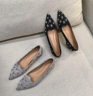 2019 fashion trend women's shoes slip-on elegant pointed toe pure color metal star grey mature office lady flats