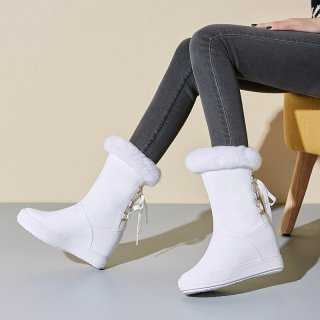 Fashion slip-on women's shoes in winter 2019 round toe white and black internal elevation ladies boots concise snow boots mature  add wool upset round head