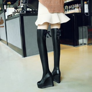 Fashion women's shoes in winter 2019 round toe over the knee high boots waterproof sexy elegant ladies boots concise mature