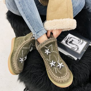 Fashion women's shoes in winter 2019 slip-on elegant ladies boots concise office lady army green big size crystal rhinestone