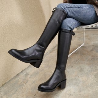 Fashion women's shoes winter 2019 round toe zipper buckle black knee high boots ladies boots chunky heels genuine leather boots