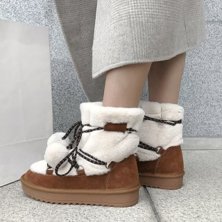 Fashion women's shoes in winter 2019 slip-on add wool upset snow boots women's boots camel sweet concise comfortable big size