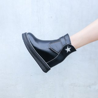 Fashion women's shoes in winter 2019 round toe zipper black genuine leather ladies boots wedges ankle boots platform stars shoes