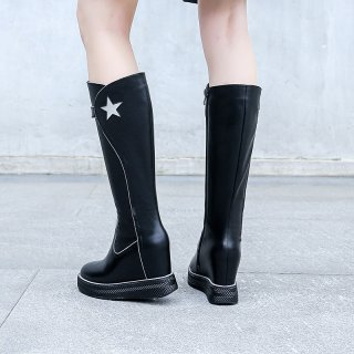 Fashion women's shoes winter 2019 zipper round toe knee high boots stars black genuine leather leather comfortable wedges boots