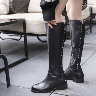 Fashion women's shoes winter 2019 zipper round toe casual ladies boots concise mature genuine leather rivets knee high boots 40