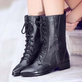 Fashion women's shoes in winter 2019 pointed toe zipper cross lacing half boots women's boots concise mature black leather