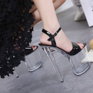 Summer stilettos extreme crystal heels clear platform red white sandals ladies big size high heels 20cm