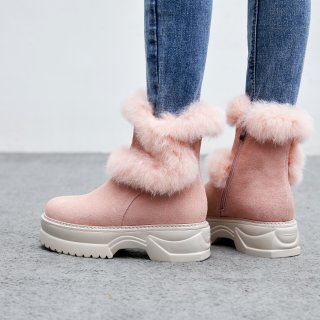 Fashion pink sweet classics black concise women's shoes in winter 2019 add wool upset round toe snow boots zipper short boots