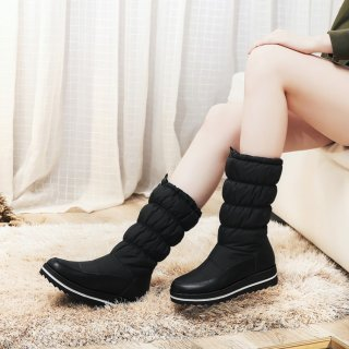Fashion mature women's shoes winter 2019 round toe women's boots slip-on black white warm platform mid calf boots snow boots 44