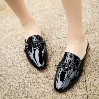 Spring and autumn 2019 fashion women's shoes flat slippers mules black party shoes yellow elegant concise mature office lady