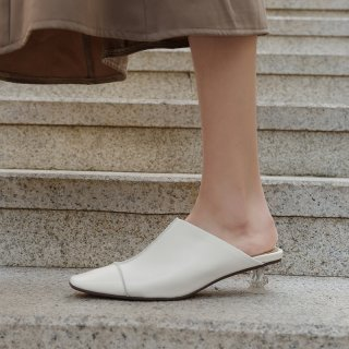 Summer 2019 fashion trend women's shoes pointed toe strange style heels slippers mules pure color elegant white concise mature