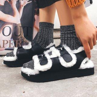 Fashion women's shoes in winter 2019 narrow band leisure small size 33 pumps personality black concise add wool upset classics