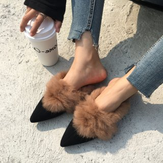 Fashion women's shoes in winter 2019 pointed toe flat slippers mules rabbit hair size 34 39 concise comfortable mature ladylike temperament