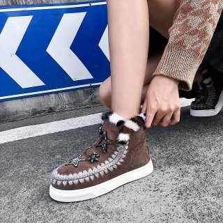 Fashion women's shoes in winter 2019 add wool upset slip-on flat short boots snow boots crystal rhinestone sweet big size 42
