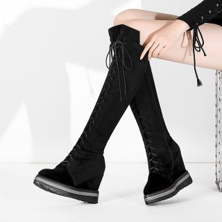 Fashion women's shoes in winter 2019 cross lacing zipper wedges waterproof knee high boots personality matte big size 42