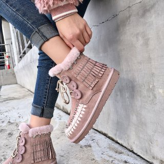 Fashion women's shoes winter 2019 cross lacing flat boots fringed snow boots comfortable women's boots crystal rhinestone big size 43