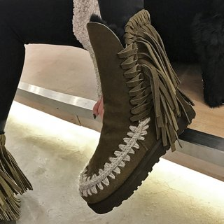 Fashion women's shoes in winter 2019 round toe flat boots short boots snow boots classics fringed small size 33 big size 43