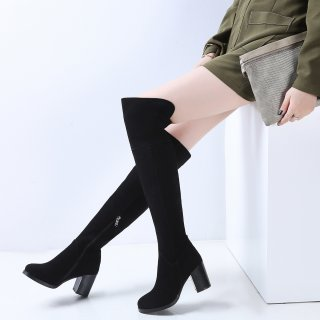 Fashion women's shoes in winter 2019 round toe chunky heels over the knee high boots zipper classics matte comfortable classics