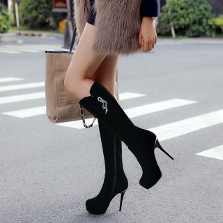 Fashion women's shoes winter 2019 pointed toe stilettos heels zipper platform knee high boots metal decoration classics