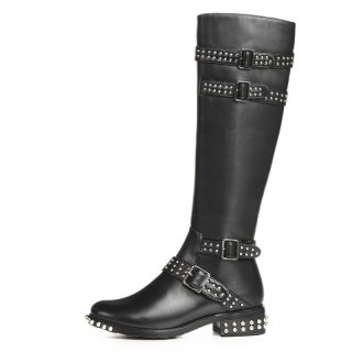 Arden Furtado fashion women's shoes winter 2019 zipper buckle knee high boots rivet genuine leather knee high boots