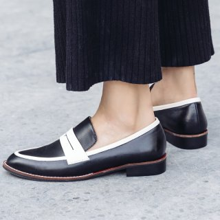 Arden Furtado spring and autumn 2019 fashion women's shoes slip-on online celebrity joker small leather shoes leather classics