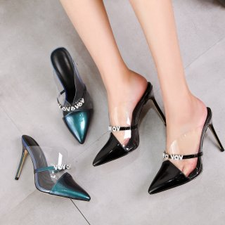 Arden Furtado summer 2019 fashion  women's shoes pointed toe stilettos heels slippers crystal letters mules sandals