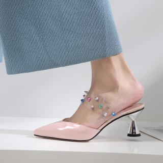 Summer 2019 fashion trend women's shoes pointed toe ladylike temperament online celebrity joker slippers mules concise mature office lady