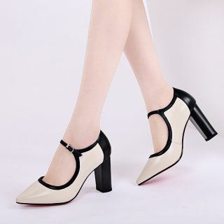 Summer 2019 fashion trend women's shoes pointed toe chunky heels small size 32  big size 41 online celebrity buckle pumps ladylike temperament