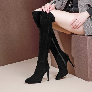 Arden Furtado fashion women's shoes in winter 2019 black pointed toe stilettos heels zipper over the knee high boots elegant