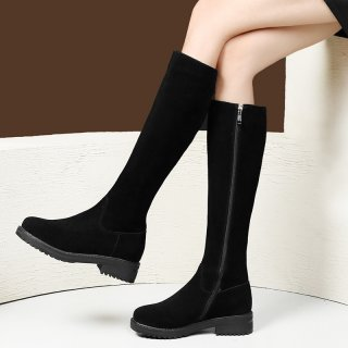 Arden Furtado fashion women's shoes in winter 2019 black leather knee high boots concise comfortable round toe classics zipper